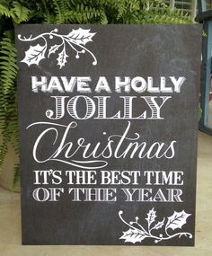 Holly Jolly Christmas Chalkboard Poster
