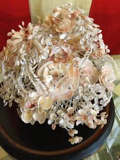 Rare Victorian Bride'S Basket IN Glass Dome Shells Perfect Wedding Gift Antique…