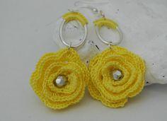 Flower crochet earrings  Long earrings  Crochet by lindapaula, €9.00