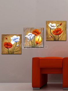 Pretty 18-24 Ready to Hang Hand-Painted Stretched Frame Flower Paintings