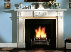 Tiffany blue walls w/ white marble fireplace Fireplaces Uk, Custom Fireplace Mantels, Georgian Fireplaces, Oak Mantel, Antique Mantel, Stone Mantel, Inglenook Fireplace, Fireplace Design, Kitchen Fireplaces