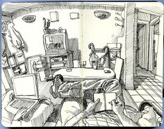 drawing the living room by paul heaston, via Flickr
