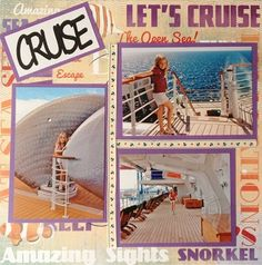 This easy but effective Cruise layout uses 'Bon Voyage Collage' 12x12 paper, Cruise self adhesive cream ribbon, and a 'Cruise' laser cut title from Sunshine Scrapbooking.