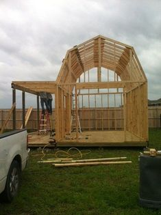 #shed #backyardshed #shedplans Would make a great tiny house with all that room in the loft area. Storage Shed Plans | shed mary s 12x16 gambrel roof shed with side porch