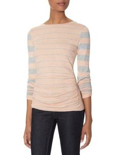 Striped Shirred Front Sweater by woiani