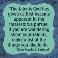 Elder Ronald A. Rasband of the 70 Full Talk here: http://www.lds.org/pages/well-done-thou-good-and-faithful-servant