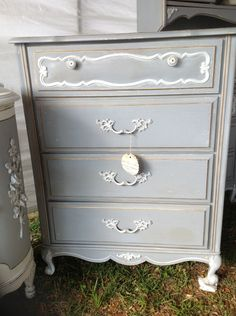 French Farmhouse Dresser Shabby Grey Paris Chic. $320.00, via Etsy.