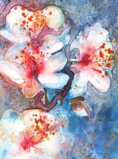 Blue White and Pink Spring Blossom Fine Art Print by YevgeniaWatts