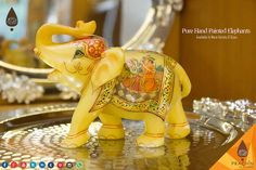 Pure Marble Handpainted Mughal Style Art Work Elephants Available In Various Sizes.
