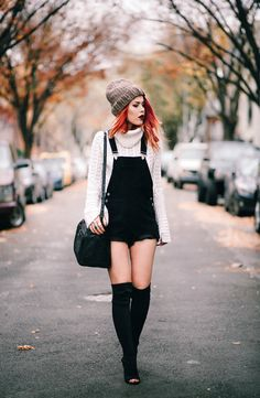 ALL ABOUT THE TEXTURES - LE HAPPY : LE HAPPY. White knit turtleneck bell sleeves sweater+black short overall+black over the knee peep-toed heeled boots+black shoulder bag+taupe knit beanie. Winter Casual Outfit 2017
