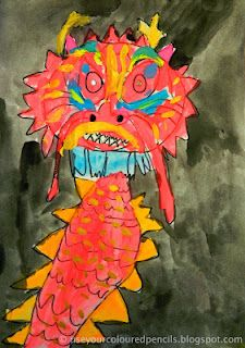 Use Your Coloured Pencils: Chinese Dragon Paintings Multicultural Activities, Chinese New Year Activities, New Years Activities, Chinese New Year Dragon, Year Of The Dragon, Painting Lessons, Art Lessons, Crafts For Kids, Arts And Crafts