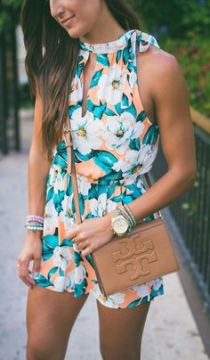 #summer #outfits / floral print romper + clutch