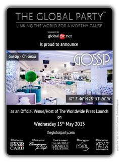As a #Journalist, #Blogger or #Media Correspondent register to attend: http://www.theglobalparty.com/venues/gossip/