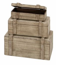 Deco 79 Wood Boxes Nautical Maritime Décor, 13 by 11 by Set of 3 - Home Style Corner Wood Box Decor, Wood Boxes, Wood Storage Box, Storage Trunk, Storage Sets, Small Storage, Weathered Wood, Rustic Wood, Brown Wood