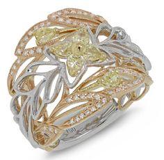 0.74ct 18k Three-tone Gold White & Fancy Color Diamond Ring