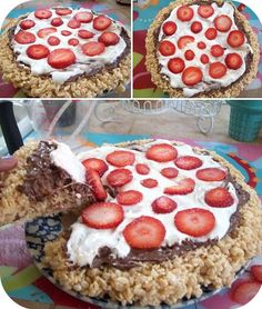 Rice Crispy Treat PIZZA!!!  topped with nutella, melted marshmellows, and sliced strawberries