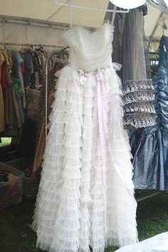 Vintage White Ruffled Prom Dress