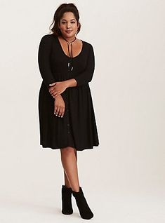 e52baa86a13 Black Jersey Knit Button Front Shirt Dress