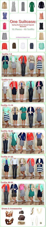 one suitcase: spring business casual capsule wardrobe #flatlay #flatlays #flatlayapp www.theflatlay.com