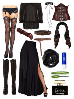 """Yennifer, Witcher 3"" by anagr2409 on Polyvore featuring Chicnova Fashion, Lioness, Daisy Corsets, Christian Louboutin, Frye, Maison Boinet, Lanvin, WearAll, Dolce&Gabbana and Rimmel"
