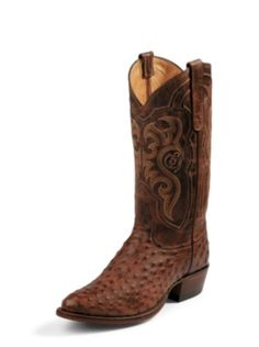 MEN'S CHOCOLATE VINTAGE EXOTICS FULL QUILL OSTRICH WESTERN BOOTS