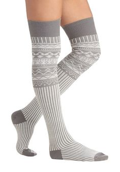Chalet around the House Socks - Knit, Grey, White, Print, Fall, Winter, Good