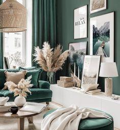 Beige Sofa Living Room, Dark Green Living Room, Dark Green Rooms, Beige Living Rooms, Living Room Color Schemes, Living Room Colors, Cosy Living Rooms, Green Living Room Ideas, Living Room Decor Green Couch