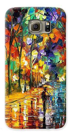 Art Gallery Galaxy S6 Case featuring the painting Pretty Night - Palette Knife Oil Painting On Canvas By Leonid Afremov by Leonid Afremov