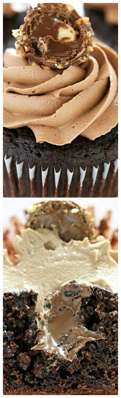 Ultimate Nutella Cupcakes ~ Perfectly moist chocolate cupcake base which is filled with Nutella, topped with Nutella buttercream, and garnished with a Ferrero Rocher cand... It's Nutella perfection!