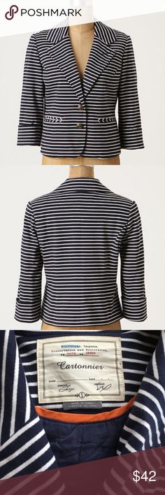 "Anthropologie En Route Navy Stripe Blazer S rolled cuff ,short-cut hemline,soft-knit blazer by Cartonnier   Front pockets  Button closure   Rayon, polyester; cotton lining 20.5""L. Anthropologie Jackets & Coats Blazers"