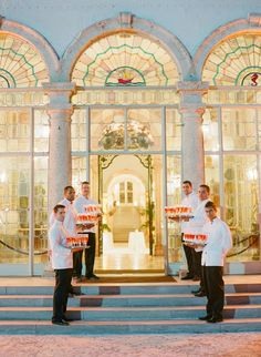 Wouldn't it be lovely to be greeted like this at the cocktail hour? See the wedding on SMP #Vizcaya