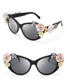 Dolce and Gabbana Oversized Floral Cat Eye Sunglasses