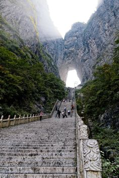 Tianmen Mountain, China They say the geography of Pandora, the setting of Avatar, was modeled after the mountains that surround this steep staircase. Places Around The World, Travel Around The World, Around The Worlds, Places To Travel, Places To See, Wonderful Places, Beautiful Places, Tianmen Mountain, Temples