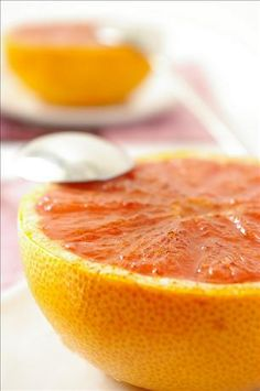 Baked Grapefruit (half grapefruit, drizzle 1 tsp of clear honey or maple syrup in center and over top and sprinkle with cinnamon. Bake at 375 degrees for 15 minutes).