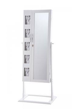 Zrkadlová skrinka na šperky Bona biela