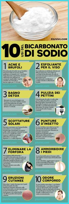 10 Usi Del Bicarbonato Di Sodio Per La Pelle E Per I Capelli: Acne E Brufoli; 10 Uses of Sodium Bicarbonate for Skin and Hair: Acne And Pimples; Exfoliate the skin of the face; Beauty Care, Beauty Skin, Health And Beauty, Beauty Secrets, Beauty Hacks, Natural Beauty Recipes, Natural Foods, Sodium Bicarbonate, Insect Bites