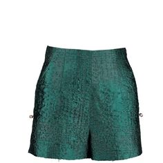 By SUN Peacock Green with Crystal buttons Shorts (275 CAD) ❤ liked on Polyvore featuring shorts, green shorts, print shorts and patterned shorts