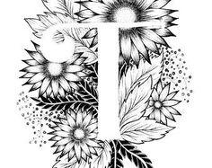 Lettre T print - Alphabet, calligraphie, typographie, monogramme, fleurs - impression d'art à l'encre noir et blanc