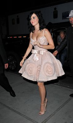 Katy Perry in blush lavender pink party dress