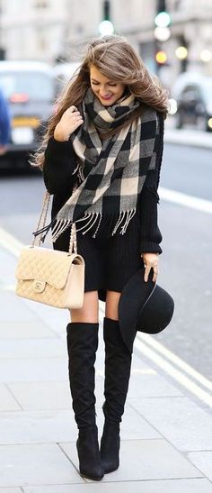 Black knit dress with cute black and white checked scarf and black OTK boots.