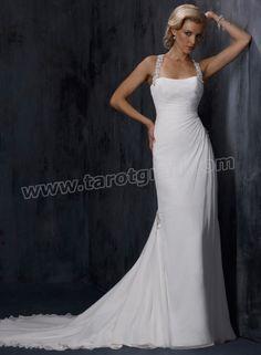 Gossamer Chiffon Boasts Stunning Beaded Shoulder Straps Scoop Neckline A-line Wedding Dress