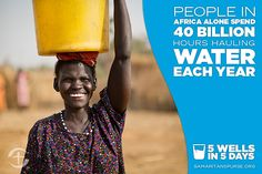 People in Africa alone spend 40 billion hours hauling water each year. Repin this fact to raise awareness of the need for clean water.