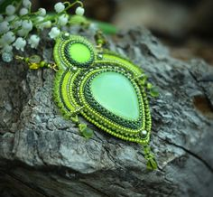 Check out Embroidered Necklace - beadwork jewelry - beaded embroidery jewelry - Evergreen on suzidesign