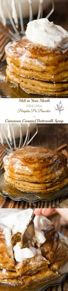 Melt in Your Mouth Whole Wheat Pumpkin Pie Pancakes With Cinnamon Caramel Syrup