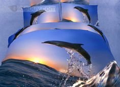 US$165.99 Fascinating Flying Dolphin Surfing Pattern 4 Piece 3D Bedding Sets. #Sets #Surfing #3D #Pattern