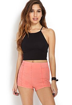 High-Rise Denim Shorts and Black Crop Top | FOREVER21