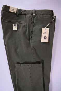 NWT ZANELLA pantalone uomo SPORTIVO cotone stretch SALVIA P/E tg. 54-58-60(IT)