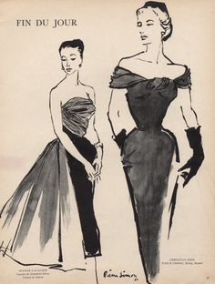 Pierre Simon 1951 Jeanne Lafaurie & Christian Dior Evening Gown