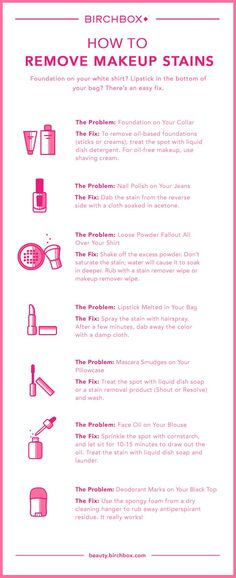 How to Get Rid of Every Type of Makeup Stain How to remove every makeup stain imaginable, from the dreaded foundation-on-your-collar situation to deodorant marks on your new black dress. Deep Cleaning Tips, House Cleaning Tips, Cleaning Hacks, Cleaning Recipes, Cleaning Solutions, Diy Hacks, Makeup Tricks, Diy Makeup, Face Makeup
