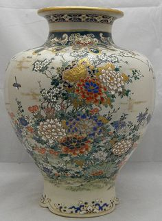 Japanese Satsuma Vase with birds  floral decor, signed